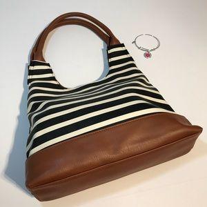 Handbags - Stylish Black & White Striped Shoulder Bag